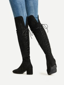tie knee high boots