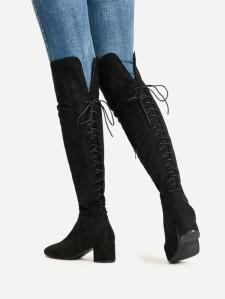 tie knee high boots