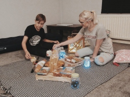 Our first night in our house, having a picnic on the floor